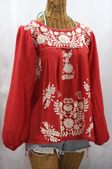 """La Mariposa Larga"" Embroidered Mexican Style Peasant Top - Tomato Red + Cream"