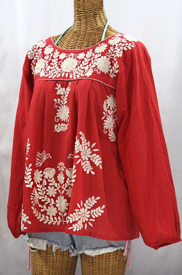 """La Mariposa Larga"" Embroidered Mexican Style Peasant Top - Tomato Red + Cream"