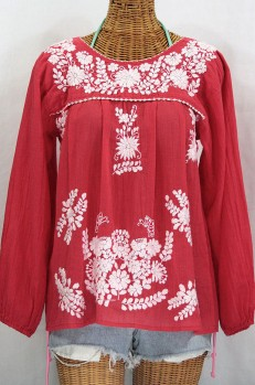 """La Mariposa Larga"" Embroidered Mexican Style Peasant Top - Tomato Red"