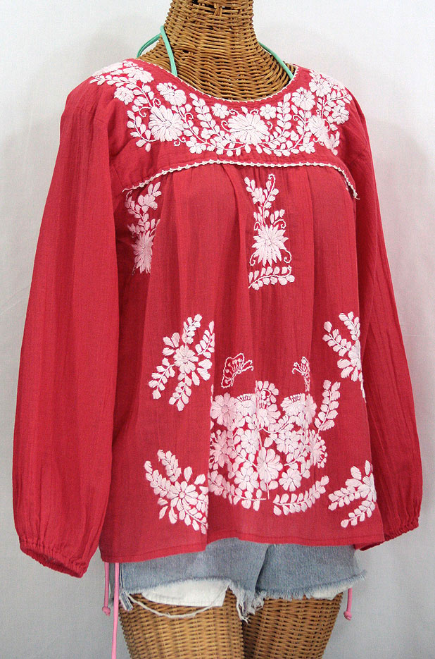 """""""La Mariposa Larga"""" Embroidered Mexican Style Peasant Top - Tomato Red"""