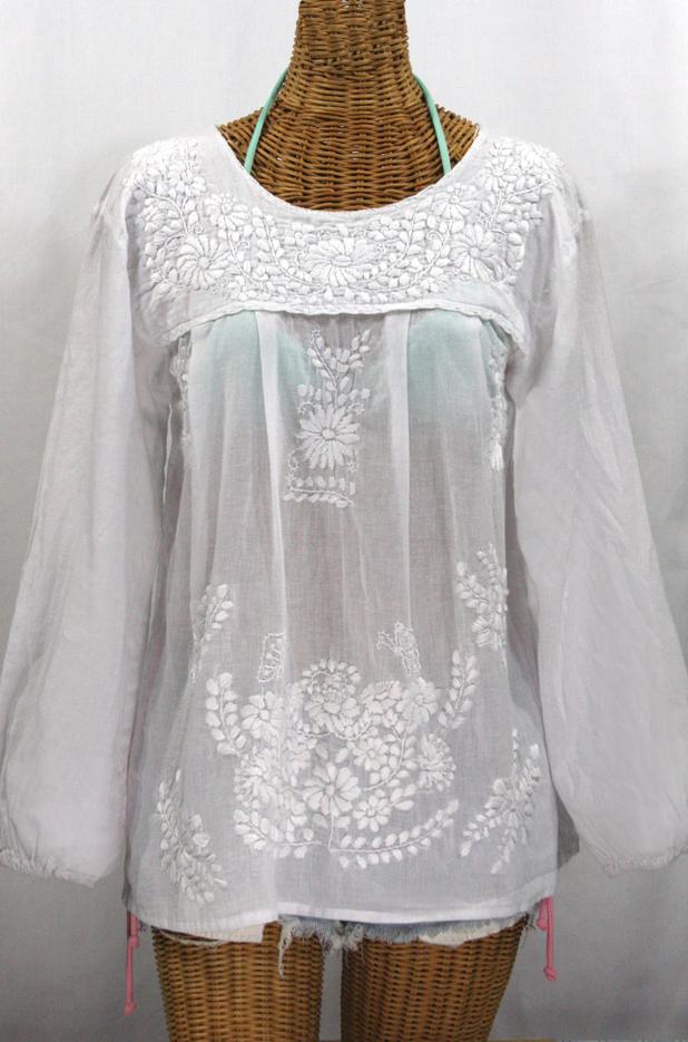 """La Mariposa Larga"" Embroidered Mexican Blouse - All White"