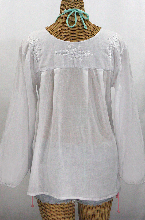 """La Mariposa Larga"" Embroidered Mexican Blouse - All White"