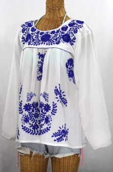 """La Mariposa Larga de Color"" Longsleeve Mexican Blouse - White + Blue"
