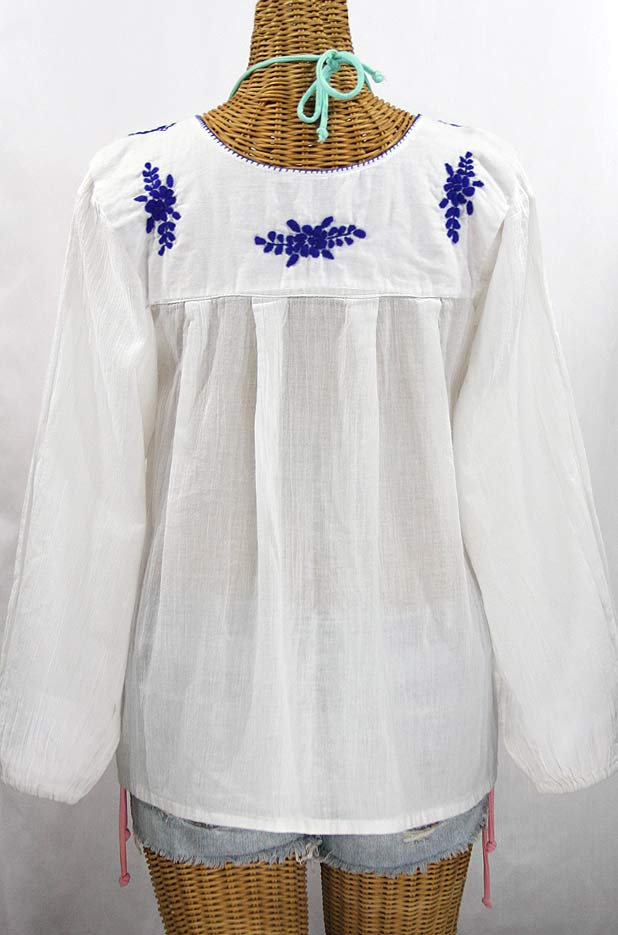 """La Mariposa Larga de Color"" Longsleeve Mexican Blouse - White + Blue"