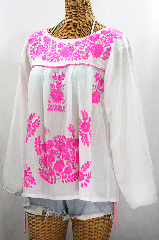 """La Mariposa Larga de Color"" Longsleeve Mexican Blouse - White + Neon Pink"