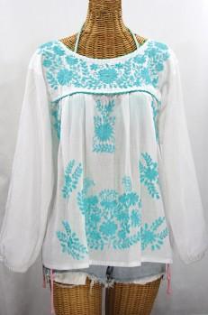 """Final Sale 40% Off -- """"La Mariposa Larga de Color"""" Longsleeve Mexican Blouse - White + Neon Blue"""