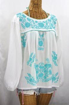 """La Mariposa Larga de Color"" Longsleeve Mexican Blouse - White + Neon Blue"