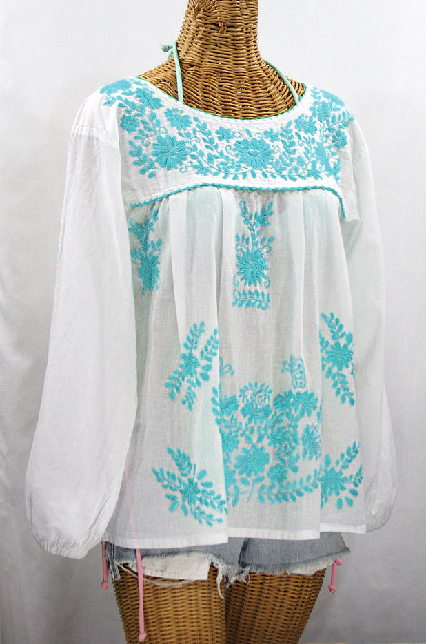 """La Mariposa Larga de Color"" Longsleeve Mexican Blouse - White + Neon Blue"