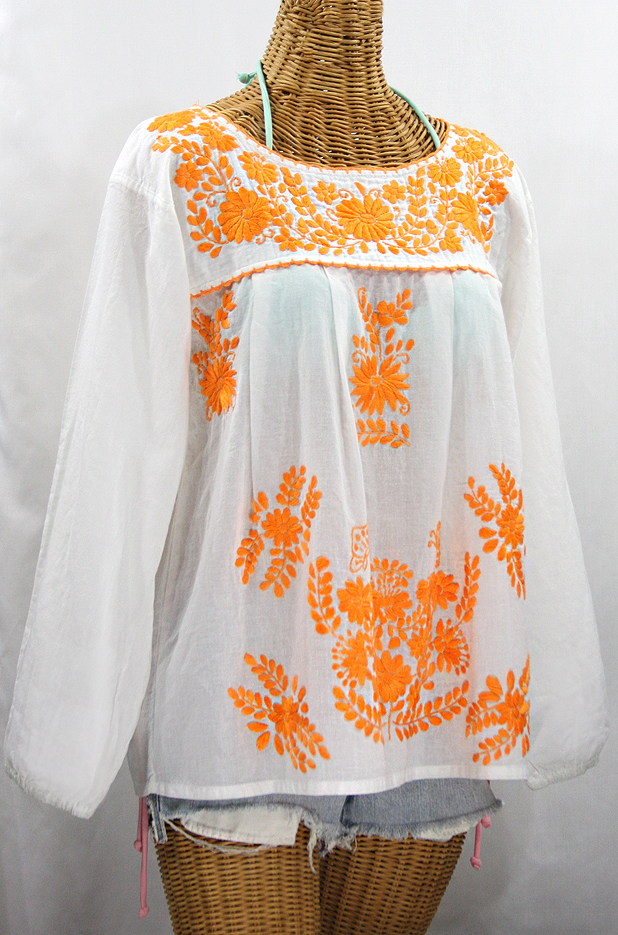 """La Mariposa Larga de Color"" Longsleeve Mexican Blouse - White + Neon Orange"