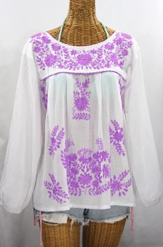 """La Mariposa Larga de Color"" Longsleeve Mexican Blouse - White + Purple"