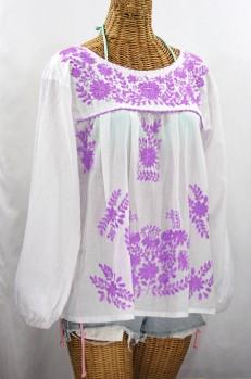 """La Mariposa Larga de Color"" Longsleeve Mexican Blouse - White + Purple"