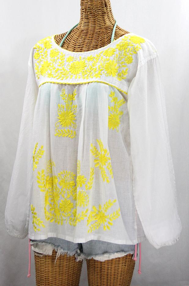"""La Mariposa Larga de Color"" Longsleeve Mexican Blouse - White + Neon Yellow"
