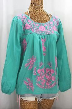 """La Mariposa Larga de Color"" Longsleeve Mexican Blouse - Mint + Pink"