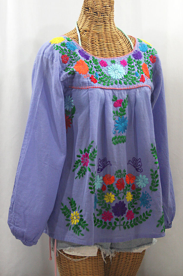 """La Mariposa Larga de Color"" Longsleeve Mexican Blouse - Periwinkle + Rainbow"