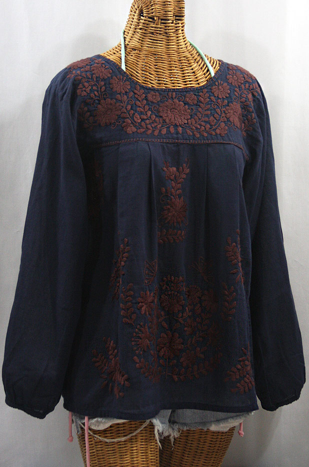 """""""La Mariposa Larga"""" Embroidered Mexican Style Peasant Top - Navy + Brown"""