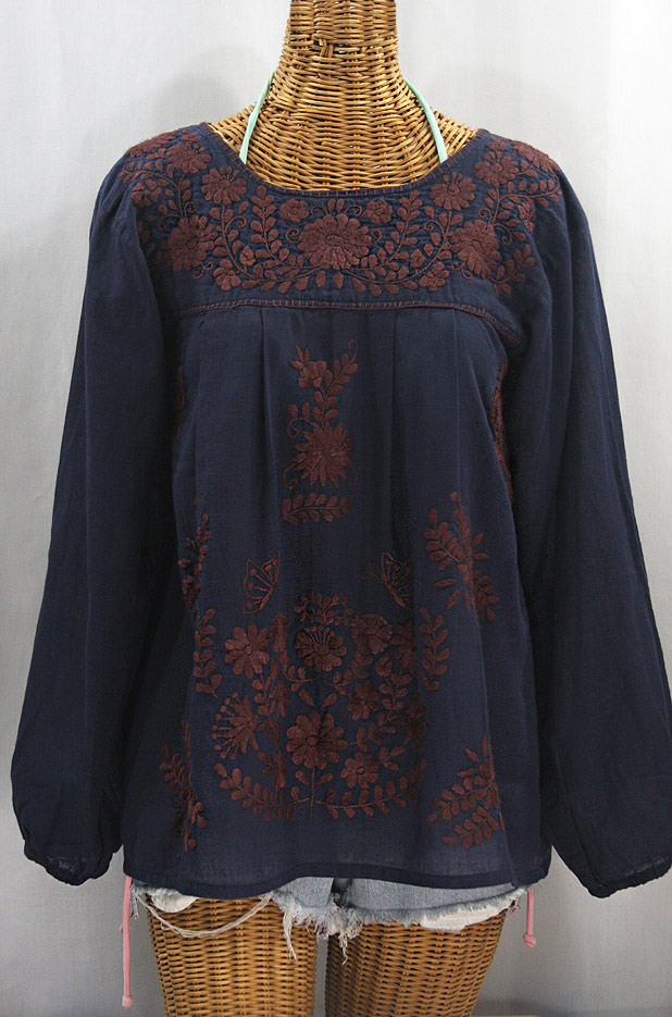 """La Mariposa Larga"" Embroidered Mexican Style Peasant Top - Navy + Brown"