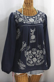 """La Mariposa Larga"" Embroidered Mexican Style Peasant Top - Navy + Grey"