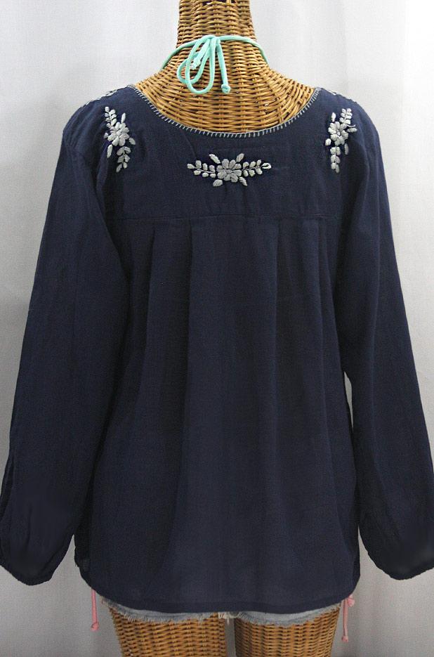 """La Mariposa Larga"" Embroidered Mexican Style Peasant Top - Navy + Grey"