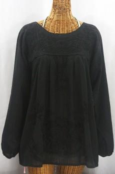 """La Mariposa Larga de Color"" Long Sleeve Mexican Blouse - All Black"