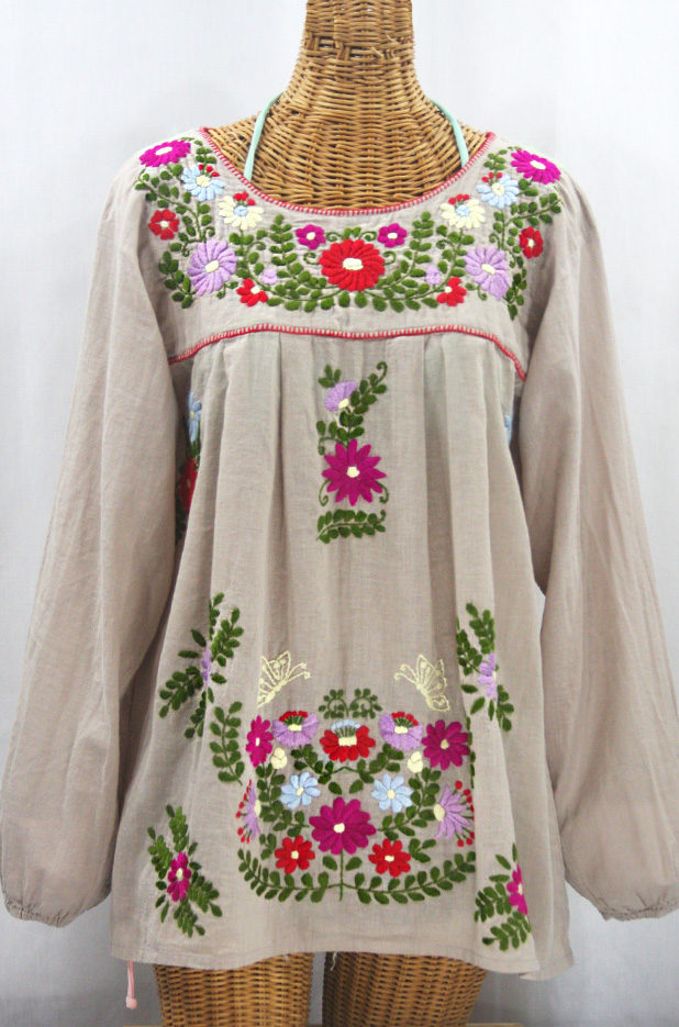 """La Mariposa Larga"" Embroidered Mexican Style Peasant Top - Greige + Multi"