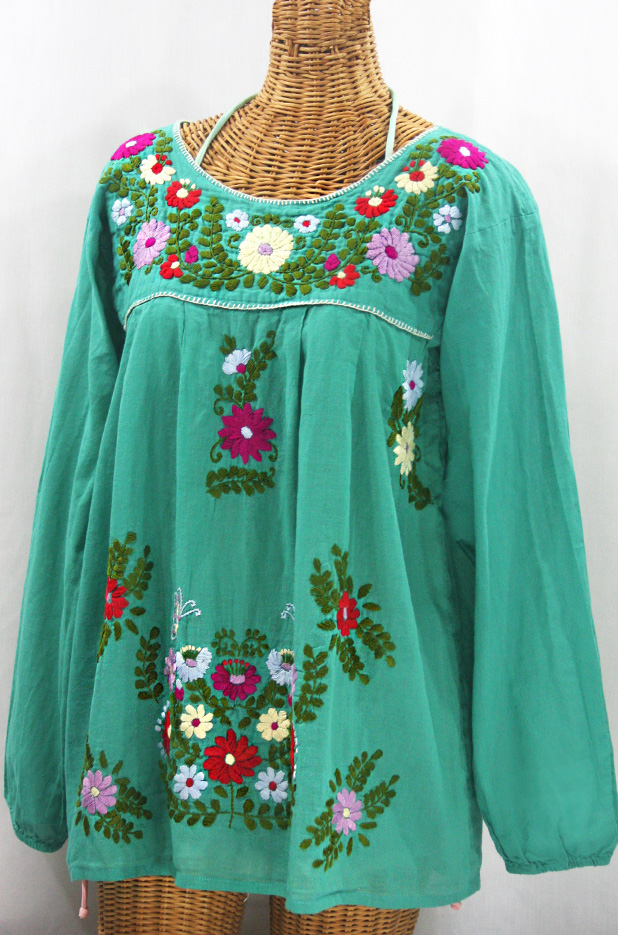 """La Mariposa Larga"" Embroidered Mexican Style Peasant Top - Mint + Multi"