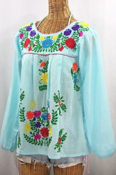 """La Mariposa Larga"" Embroidered Mexican Style Peasant Top - Pale Blue + Rainbow"