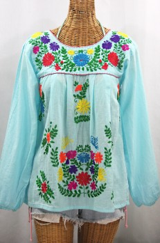 """""""La Mariposa Larga"""" Embroidered Mexican Style Peasant Top - Pale Blue + Rainbow"""