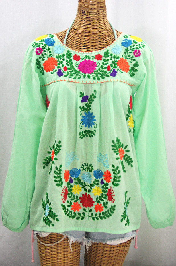 """""""La Mariposa Larga"""" Embroidered Mexican Style Peasant Top - Pale Green + Rainbow"""