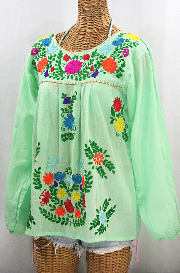 """La Mariposa Larga"" Embroidered Mexican Style Peasant Top - Pale Green + Rainbow"