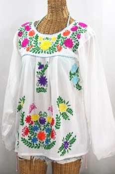 """La Mariposa Larga"" Embroidered Mexican Style Peasant Top - White + Rainbow"