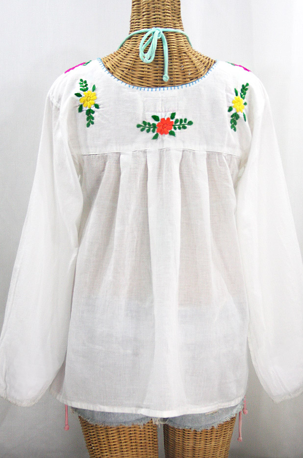 """""""La Mariposa Larga"""" Embroidered Mexican Style Peasant Top - White + Rainbow"""