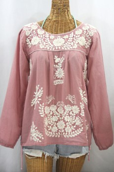"""La Mariposa Larga de Color"" Long Sleeve Mexican Blouse - Dusty Light Pink + Cream"