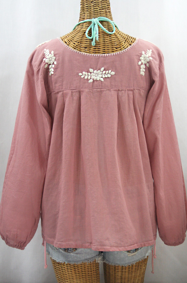 """La Mariposa Larga de Color"" Long Sleeve Mexican Blouse - Dusty Light Pink + Cream"