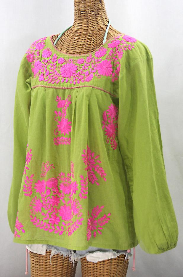 """La Mariposa Larga de Color"" Longsleeve Mexican Blouse - Moss Green + Neon Pink"