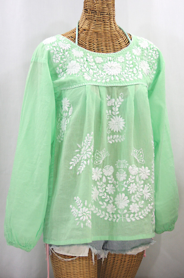"""La Mariposa Larga"" Embroidered Mexican Style Peasant Top - Pale Green + White"