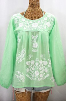 """""""La Mariposa Larga"""" Embroidered Mexican Style Peasant Top - Pale Green + White"""