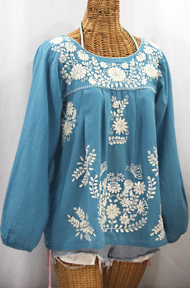 """""""La Mariposa Larga de Color"""" Long Sleeve Mexican Blouse - Pool Blue + Cream"""