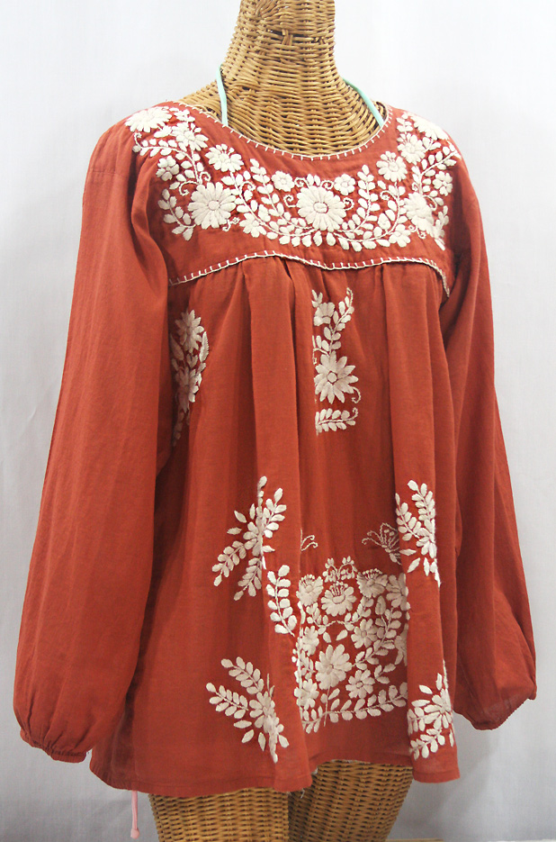 """La Mariposa Larga"" Embroidered Mexican Style Peasant Top - Terracotta + Cream"