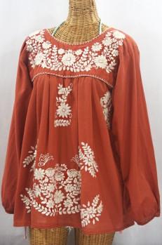 """La Mariposa Larga"" Embroidered Mexican Style Peasant Top - Terracotta + Cream"