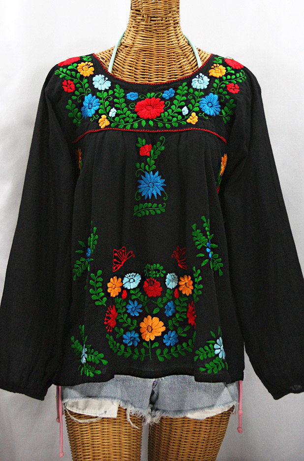 """La Mariposa Larga de Color"" Longsleeve Mexican Blouse - Black + Bold Fiesta"