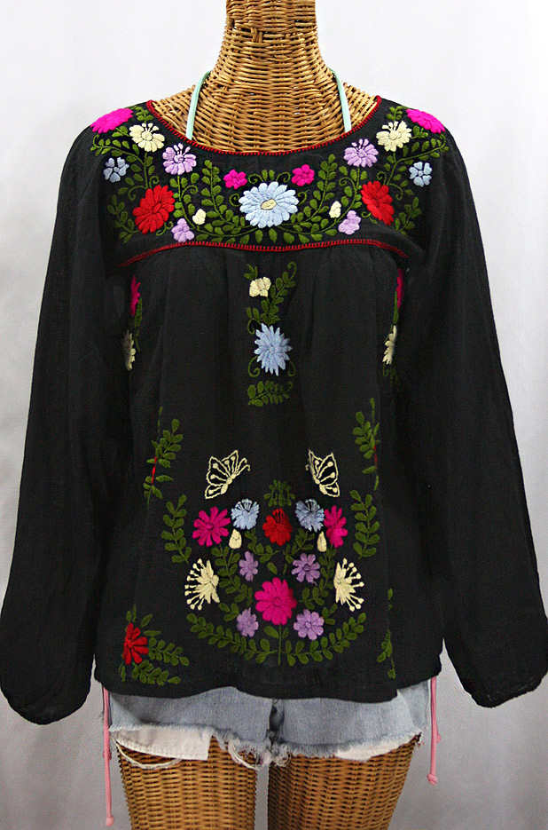 """La Mariposa Larga de Color"" Longsleeve Mexican Blouse - Black + Bold Multi"