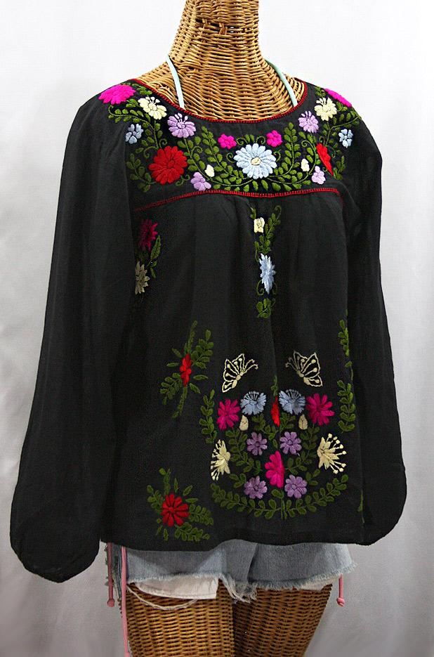 """La Mariposa Larga de Color"" Longsleeve Mexican Blouse - Black + Bold Multi"