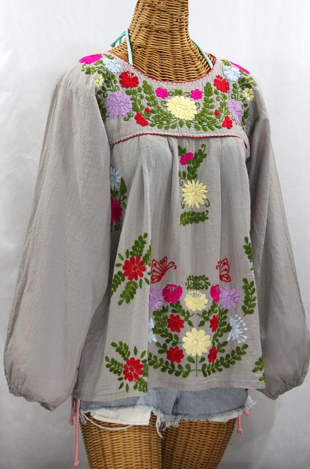 """La Mariposa Larga de Color"" Longsleeve Mexican Blouse - Grey + Bold"