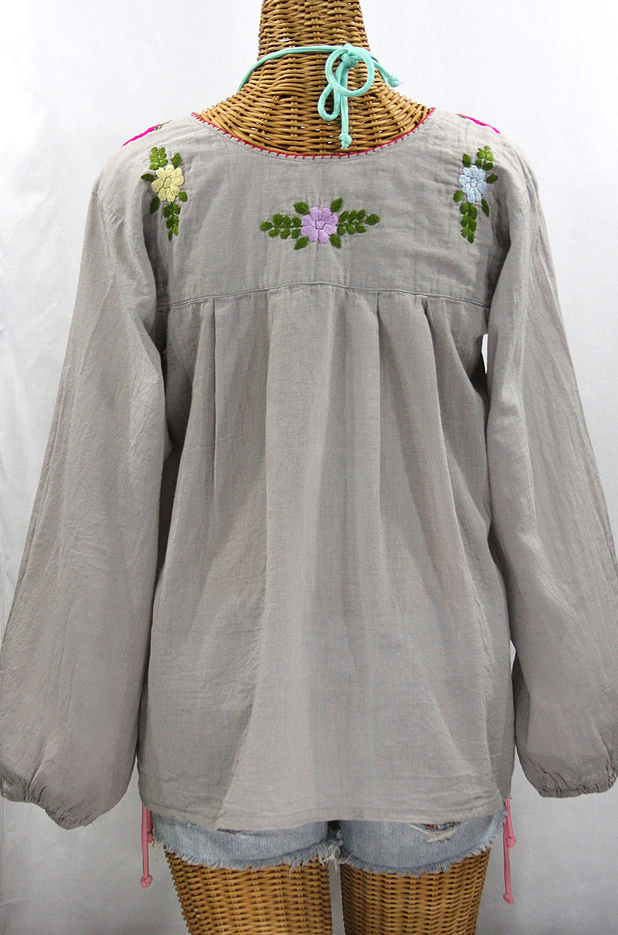 """La Mariposa Larga de Color"" Longsleeve Mexican Blouse - Grey + Multi"