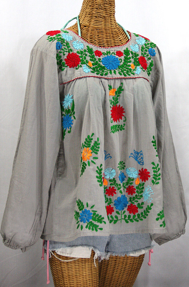 """La Mariposa Larga de Color"" Longsleeve Mexican Blouse - Grey + Bold Fiesta"