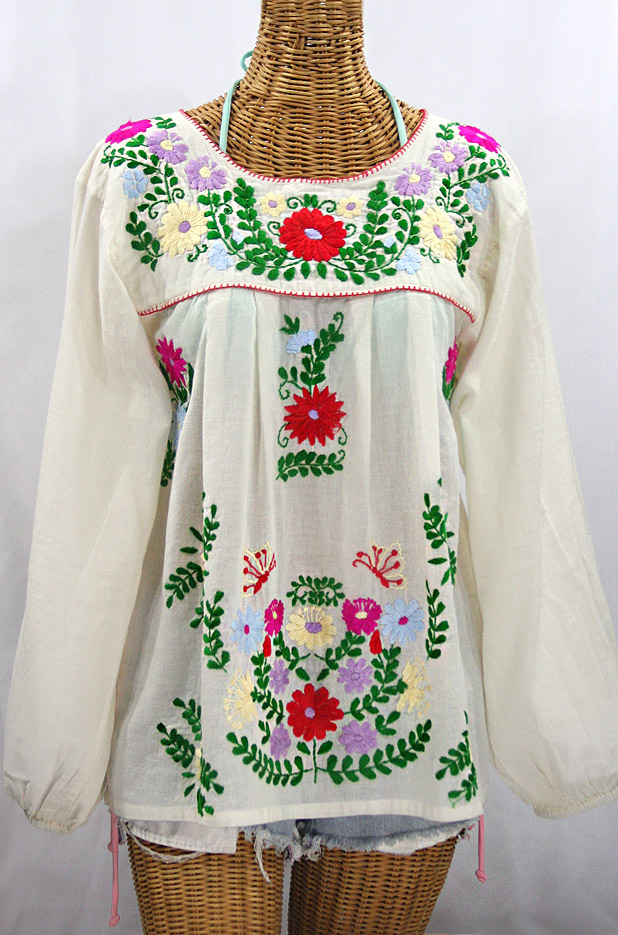 """La Mariposa Larga de Color"" Longsleeve Mexican Blouse - Off White + Bright Multi"