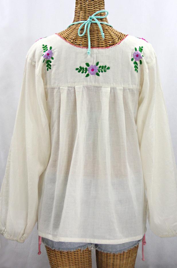 """La Mariposa Larga de Color"" Longsleeve Mexican Blouse - Off White + Bright Multi"