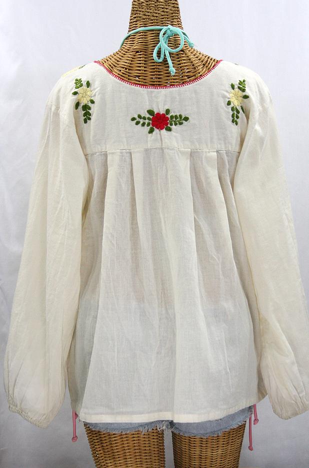"""""""La Mariposa Larga de Color"""" Longsleeve Mexican Blouse - Off White + Bold"""
