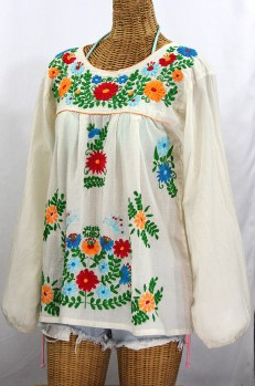 """La Mariposa Larga de Color"" Longsleeve Mexican Blouse - Off White + Fiesta"