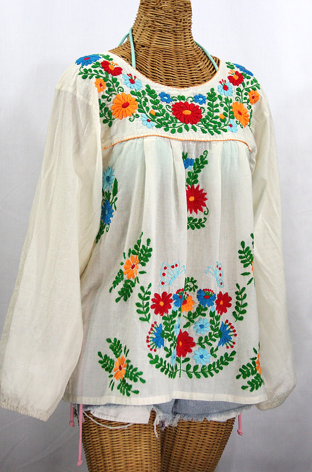"""La Mariposa Larga de Color"" Longsleeve Mexican Blouse - Off White + Fiesta"
